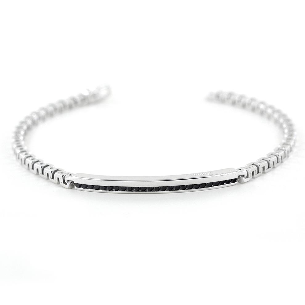 Bracciale Zancan da uomo in argento e spinelli neri EXB729