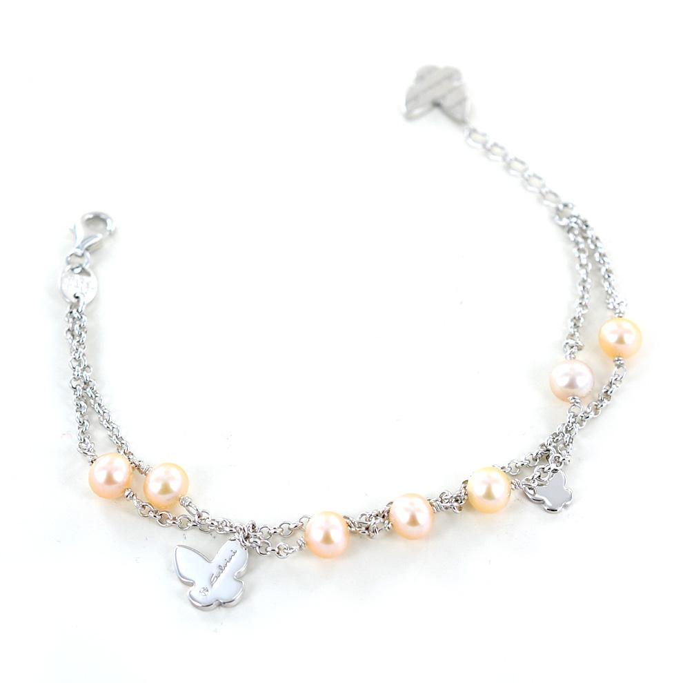 Bracciale argento con farfalle e perle by Salvini 20073454 Just a Pearl