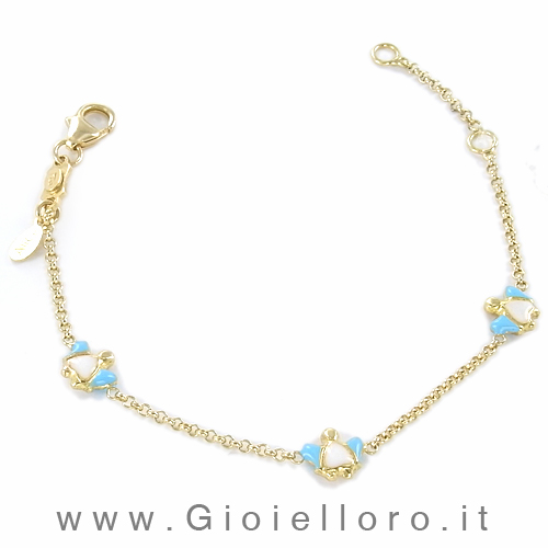 Bracciale bambina in oro con Angeli in smalti colorati