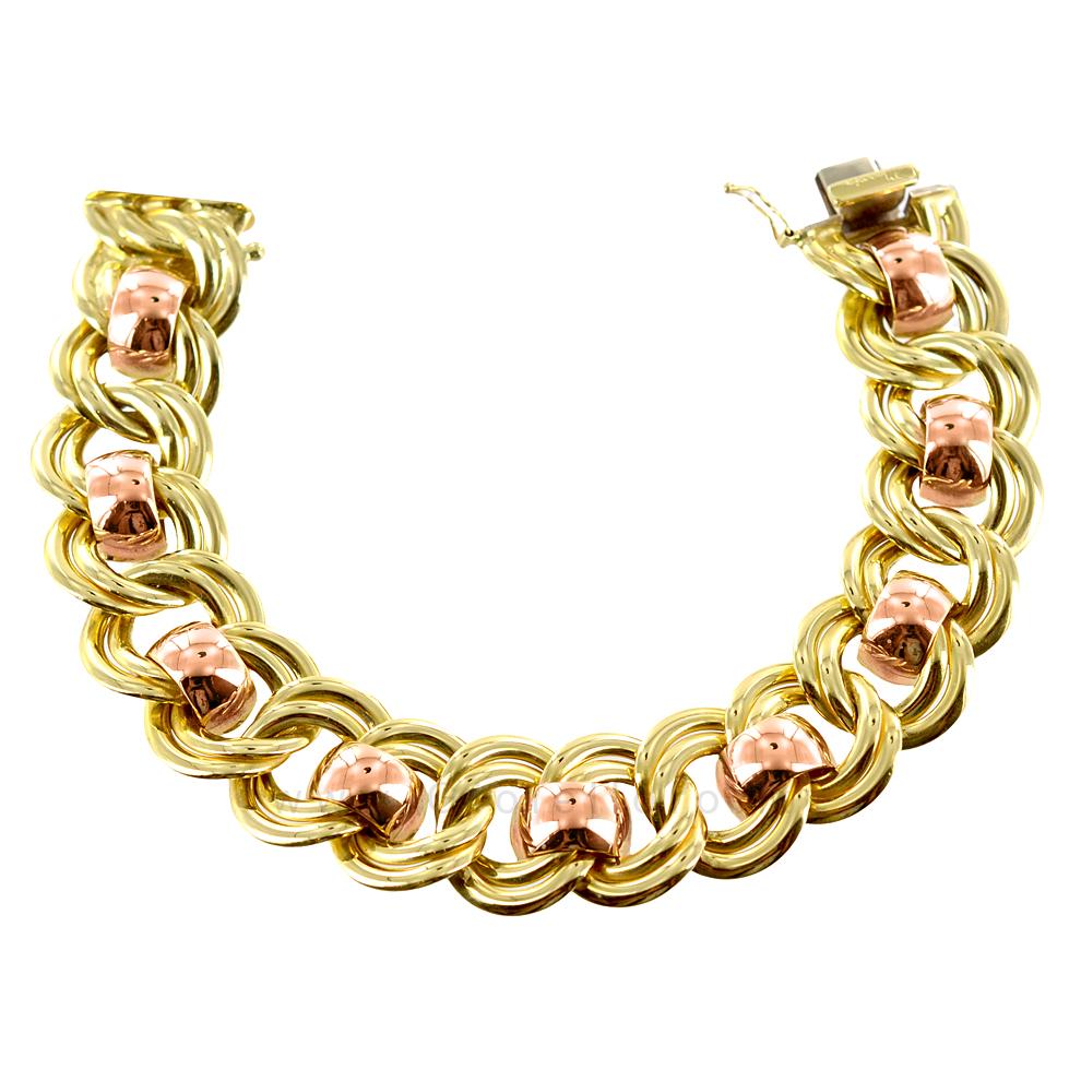 Bracciale classico in oro giallo e rosa - manifattura aretina