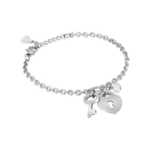 Bracciale con charm CUORE E LUCCHETTO 2Jewels in acciaio e perla collezione PREPPY