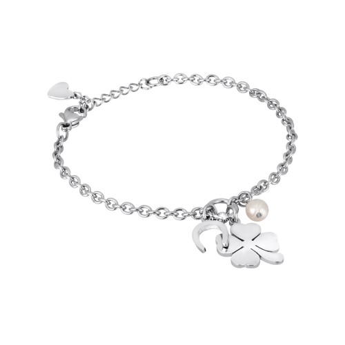Bracciale con charm QUADRIFOGLIO 2Jewels in acciaio e perla collezione PREPPY