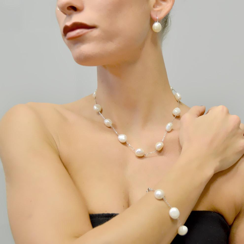Bracciale con perle di acqua dolce diametro 11 - 12 mm