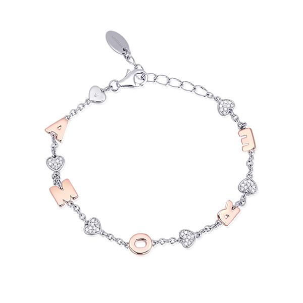 Bracciale da donna Mabina in argento con charms Amore
