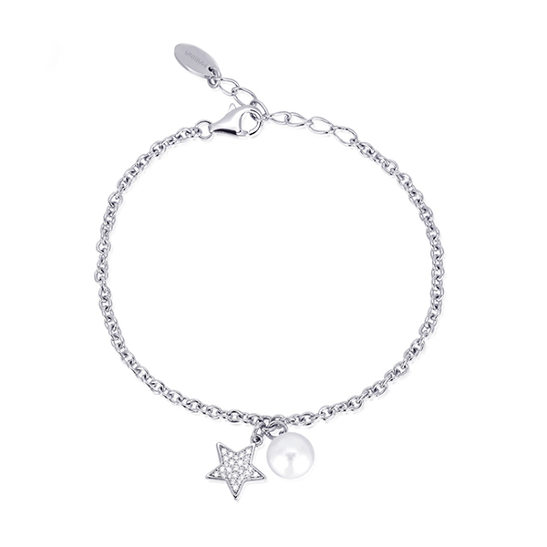 Bracciale da donna Mabina in argento con perla e charm stella