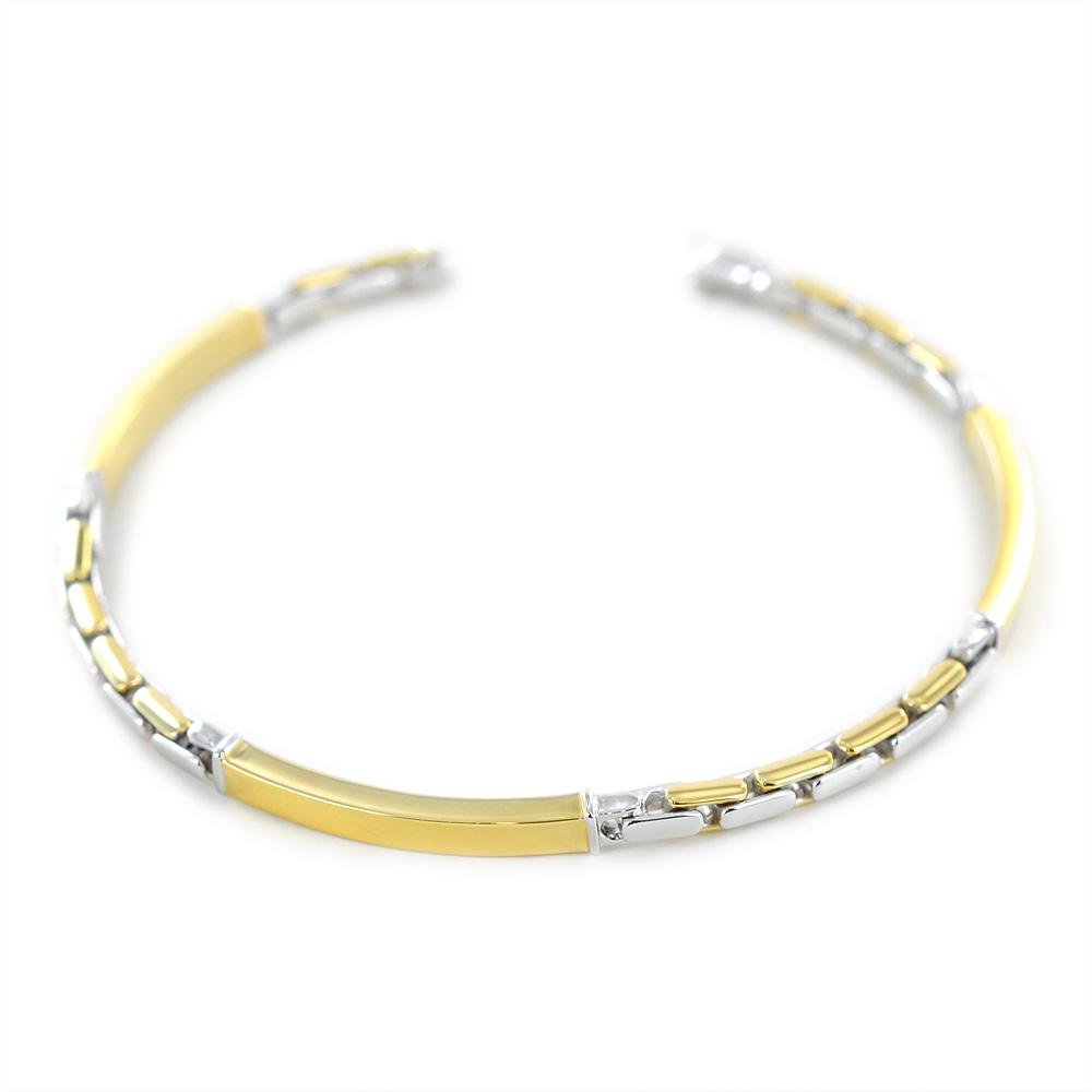 Bracciale da uomo in oro giallo e bianco con targhe