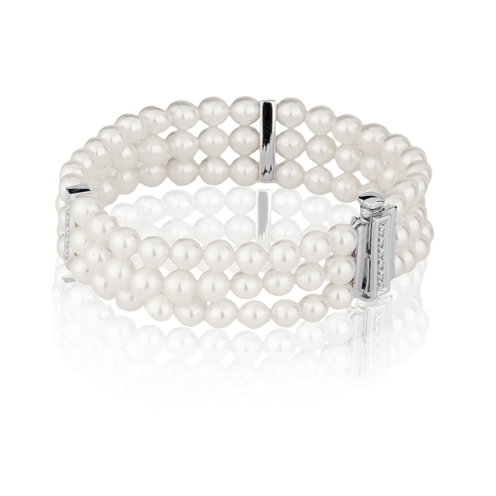 Bracciale di Perle Akoya 5 - 5,5 e Diamanti