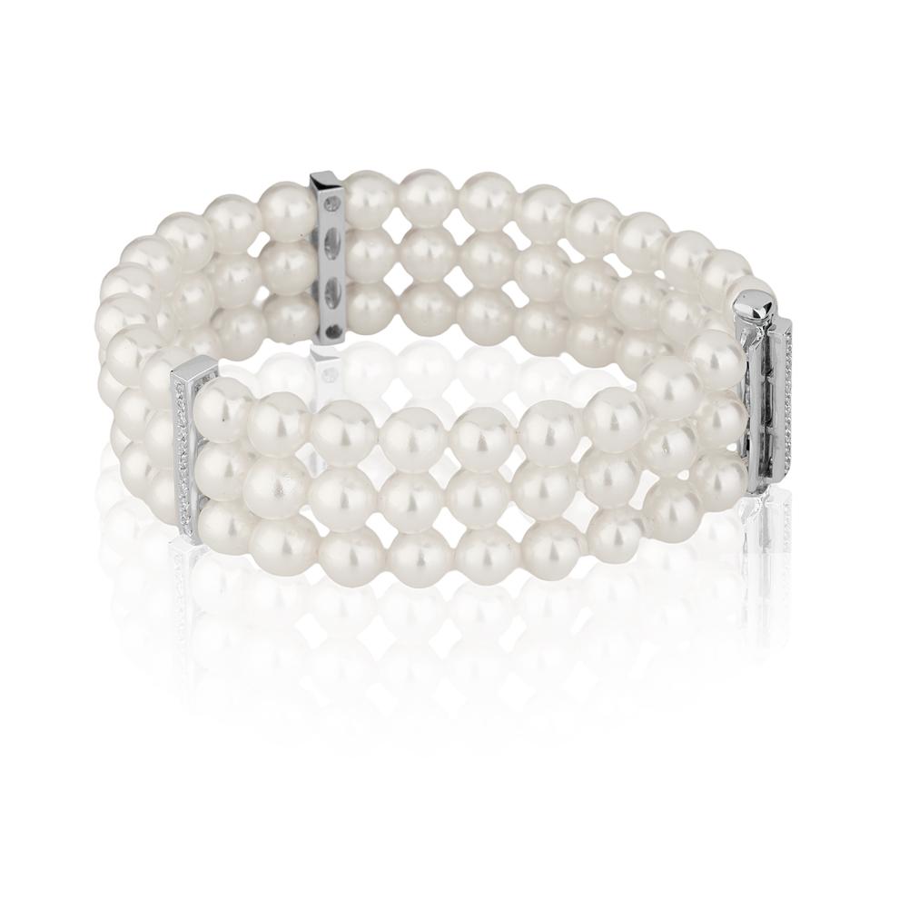 Bracciale di Perle Akoya 7,5 - 8 e Diamanti