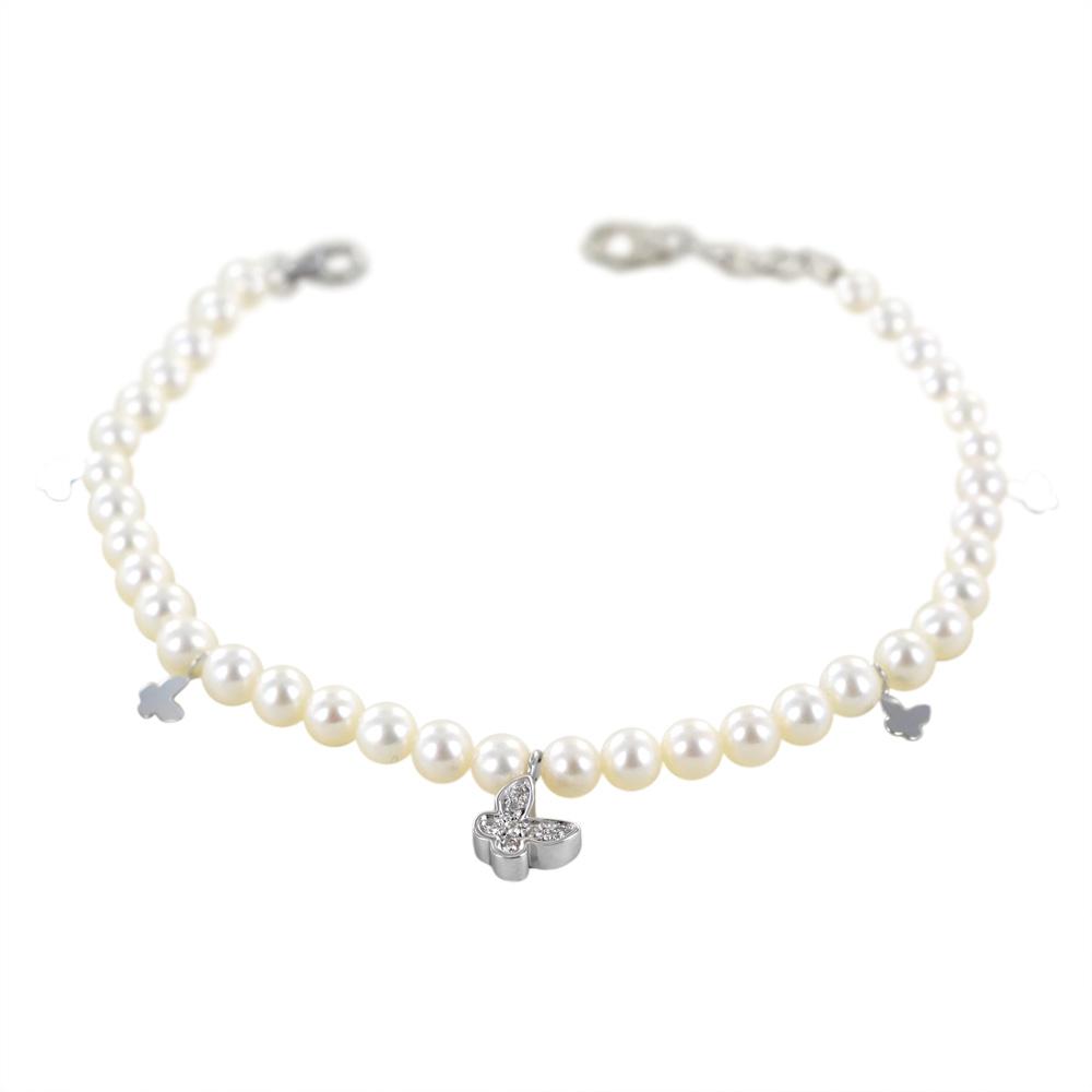 Bracciale filo perle con ciondoli farfalla con diamanti Salvini Gioielli
