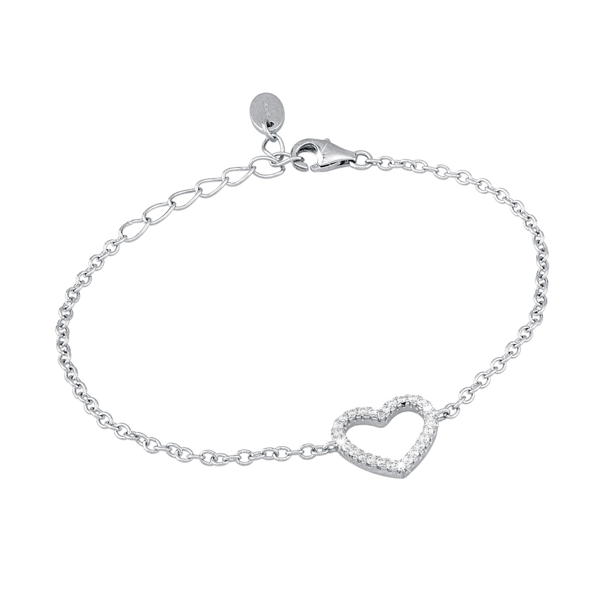 Bracciale in argento Cuore con zirconi