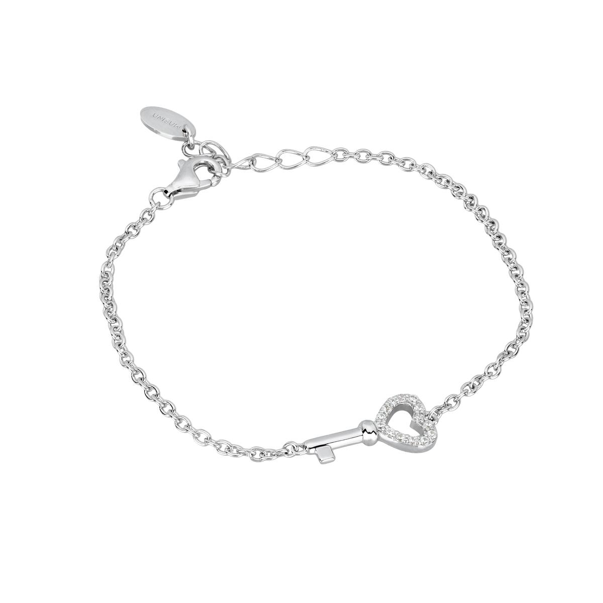 Bracciale in argento chiave con zirconi