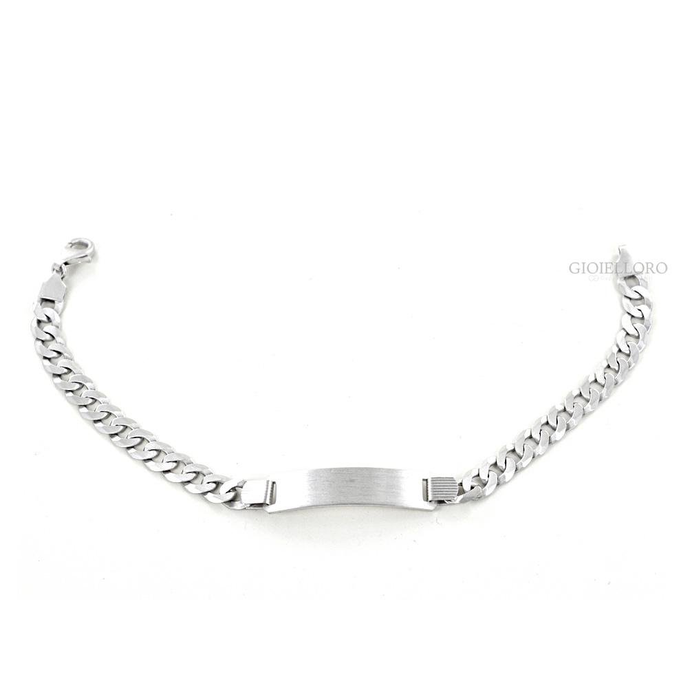 Famoso Bracciale in argento con targhetta per incisione | Gioielloro.it  UR74
