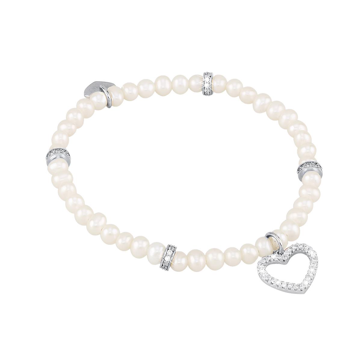 Bracciale in argento e perle con charm cuore