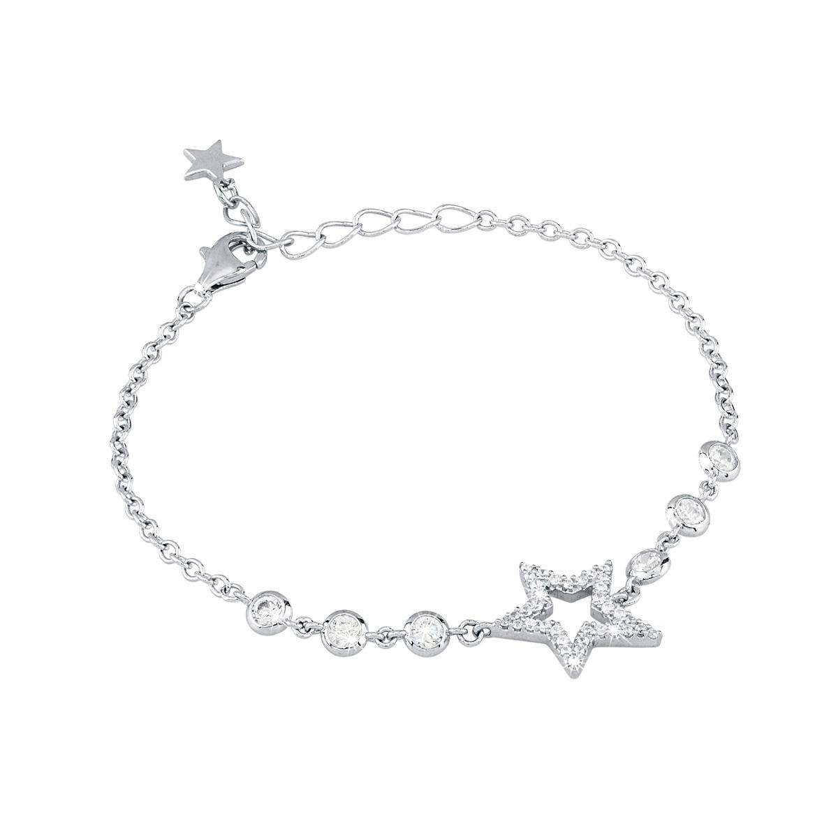 Bracciale in argento stella con zirconi