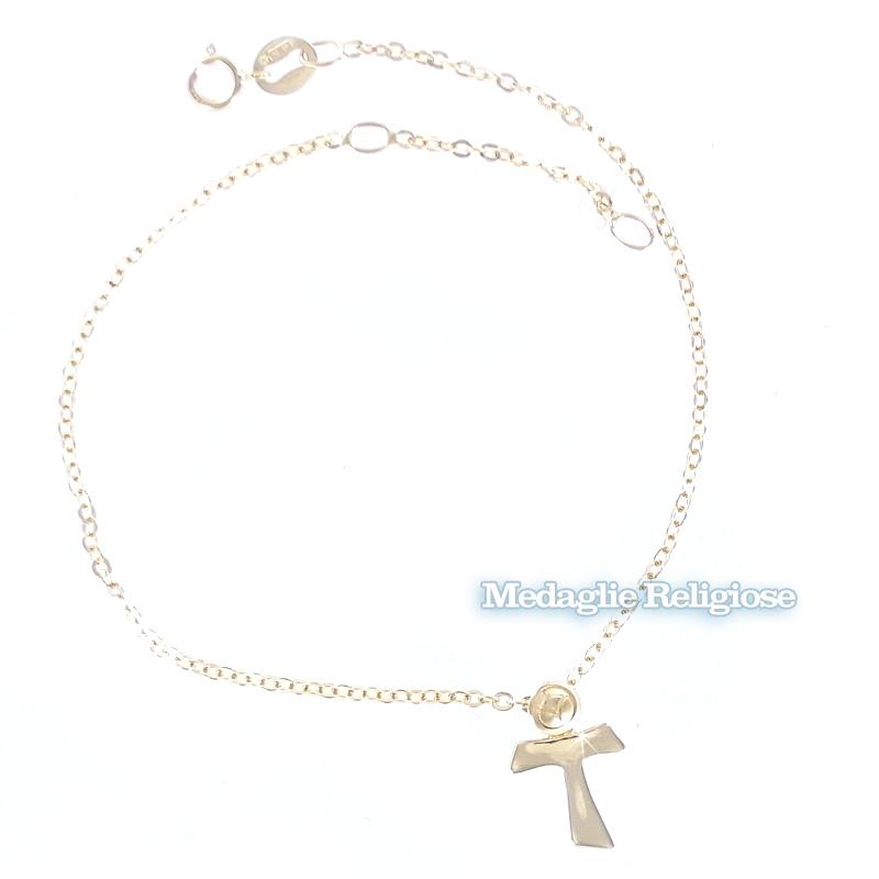 Bracciale in oro giallo con charm Croce TAO