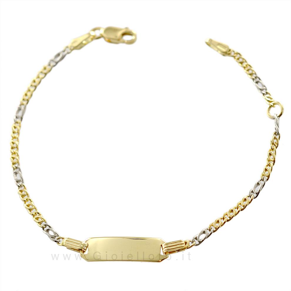 Bracciale in oro giallo e bianco 18 kt con targhetta