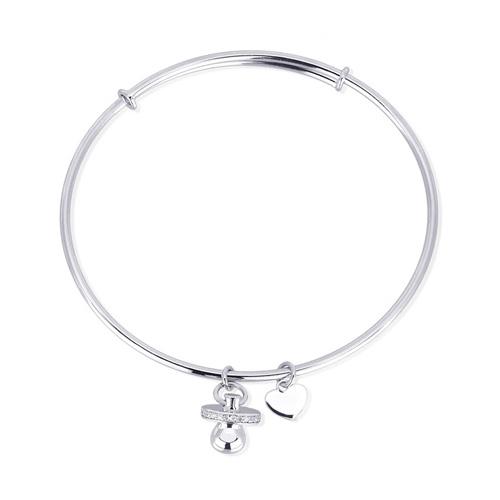 Bracciale rigido donna Mabina in argento e zirconi con ciuccio e cuore