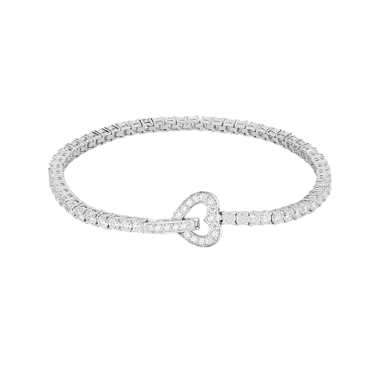 Bracciale tennis cuore in argento con zirconi