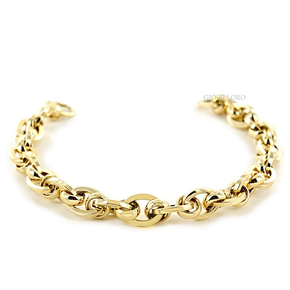 Braccialetto in oro 18kt maglia catena intrecciata oreficeria aretina