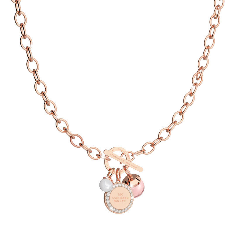 COLLANA DONNA REBECCA IN BRONZO CON CHARM HOLLYWOOD STONE