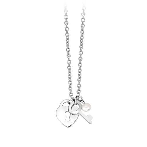 COLLANA con pendente LUCCHETTO CUORE 2Jewels in acciaio e perla collezione PREPPY