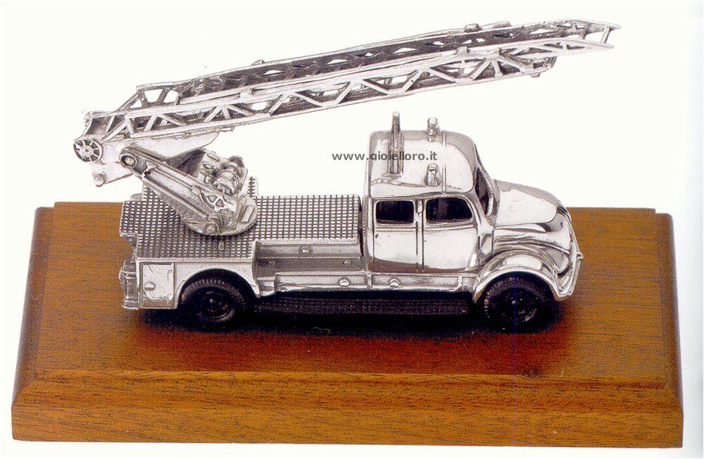 Camion pompieri argento 925/000 e legno
