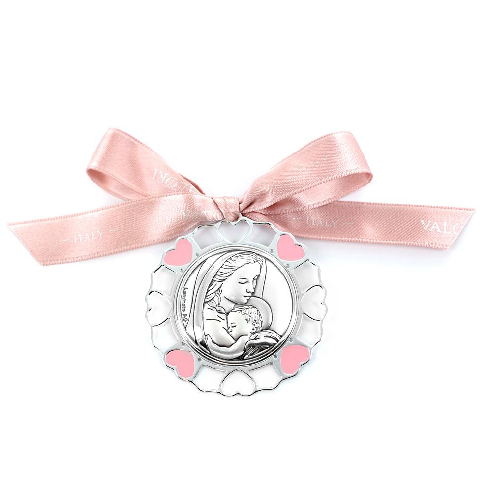 Capoculla da bambina in argento e smalto - Madonna