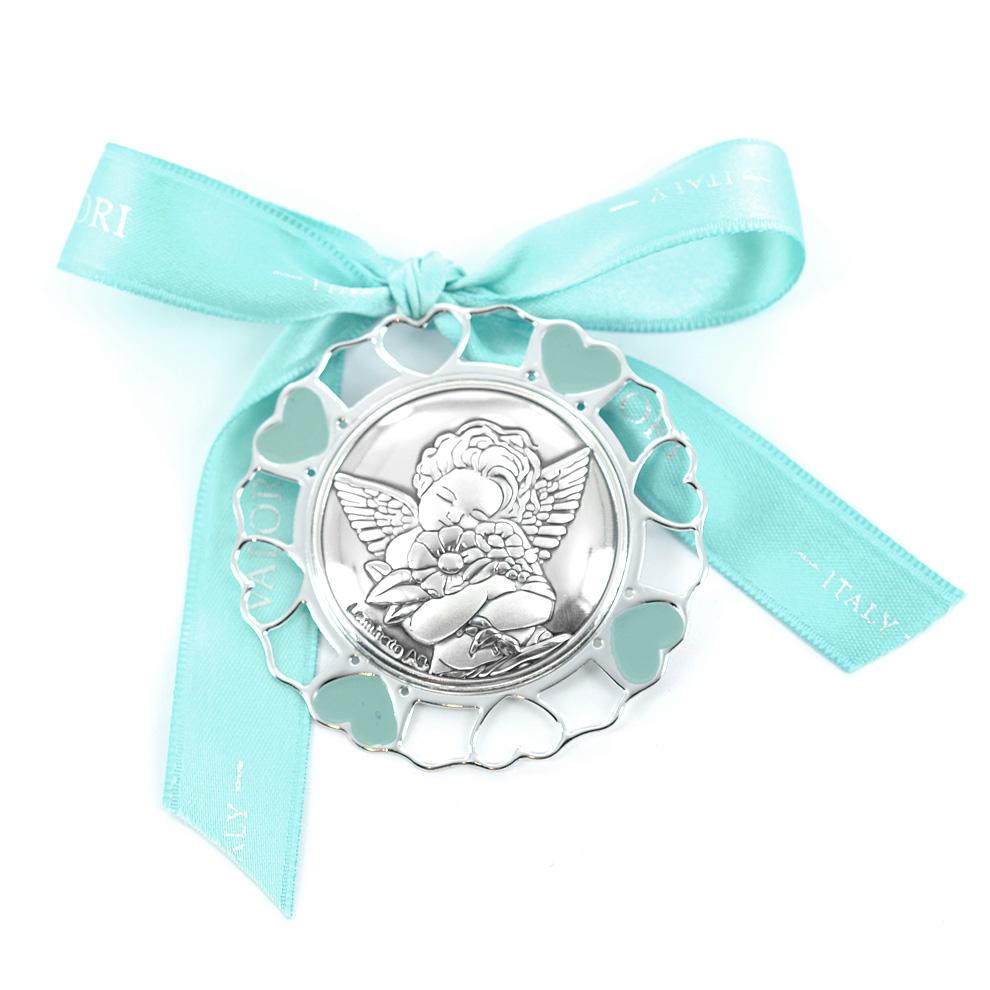 Capoculla da bambino in argento e smalto - Angioletto