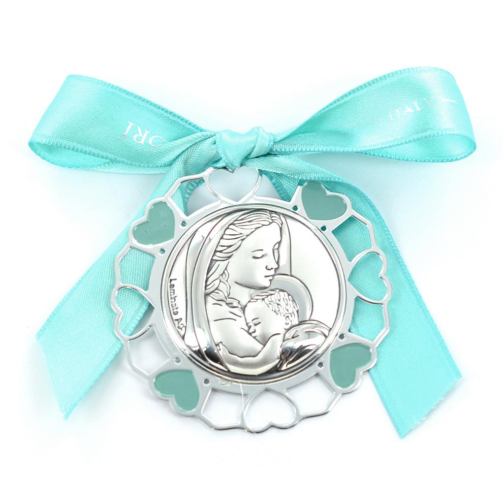 Capoculla da bambino in argento e smalto - Madonna
