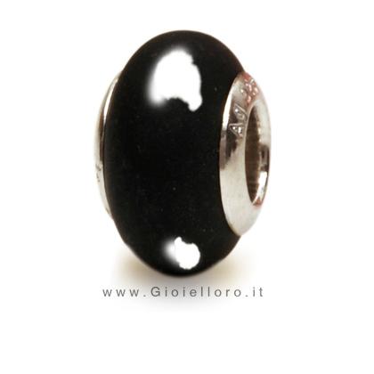 Charm componibile PerlAmore Murano Beads in argento e vetro GLOSSY BLACK