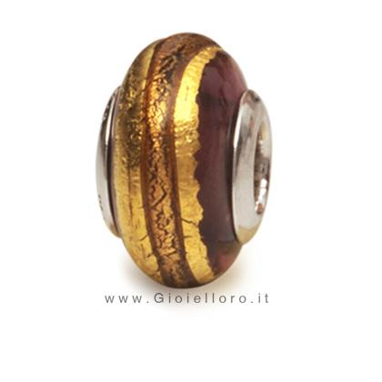 Charm componibile PerlAmore Murano Beads in argento e vetro GOLDLINE AMETHYST