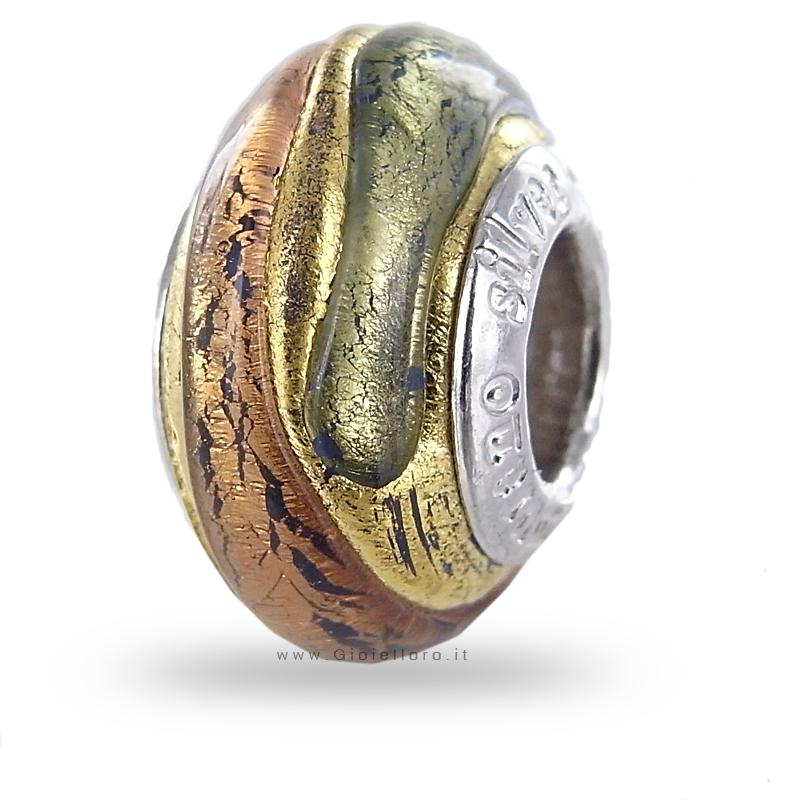 Charm componibile PerlAmore Murano Beads in argento e vetro TABACCO GOLD