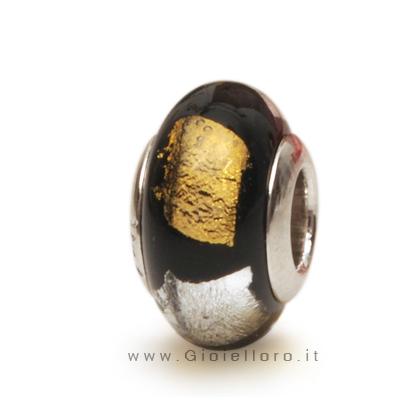Charm componibile PerlAmore Murano Beads in argento e vetro GOLD&SILVER