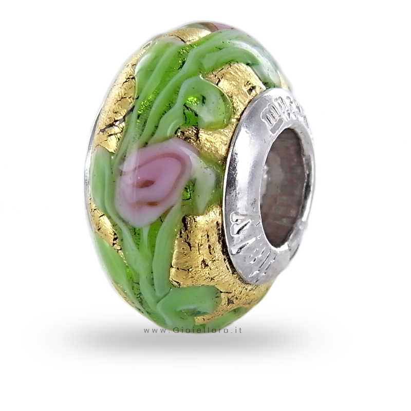 Charm componibile PerlAmore Murano Beads in argento e vetro KIM GOLD FLOWER