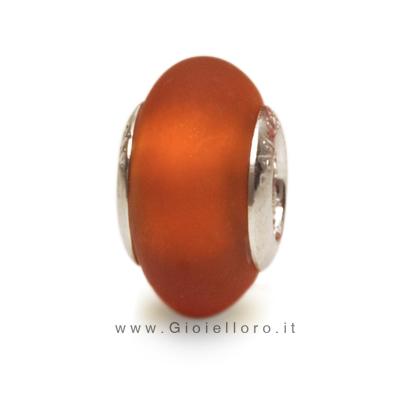 Charm componibile PerlAmore Murano Beads in argento e vetro SATIN TOPAS