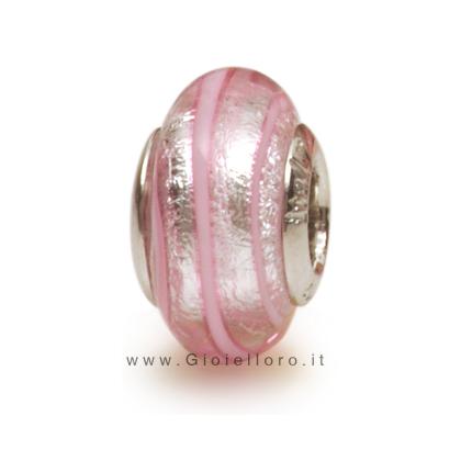 Charm componibile PerlAmore Murano Beads in argento e vetro SPIRALINA SILVER