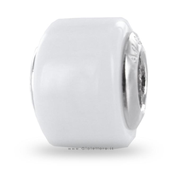 Charm componibile PerlAmore Murano Beads in argento e vetro WHITE SQUARE