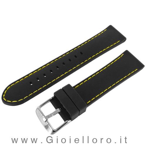 Cinturino Morellato in silicone con cuciture gialle Ansa 24 mm