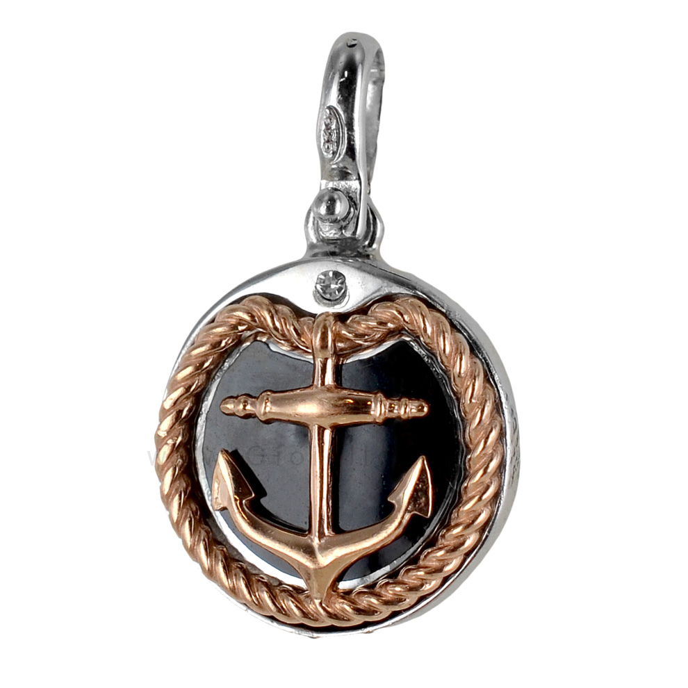 Ciondolo Ancora e corda nautica in argento e smalti