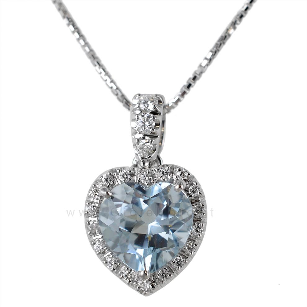 Super Ciondolo Cuore in oro e diamanti con Acquamarina | Gioielloro.it  PT13