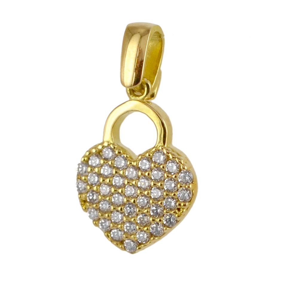 Ciondolo Cuore in oro giallo e zirconi con collana