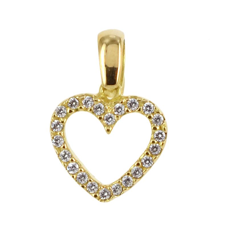 26bde55d88 Ciondolo Cuore in oro giallo e zirconi con collana - Oro 18 kt ...
