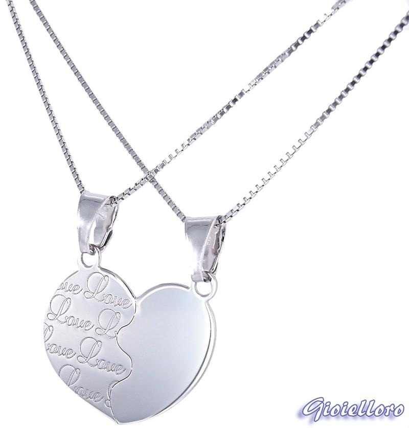 Ciondolo Cuore Spezzato LOVE in argento con collane YOU and ME