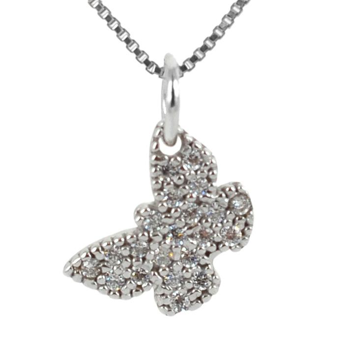 Ciondolo Farfalla in oro bianco e zirconi con collana in argento