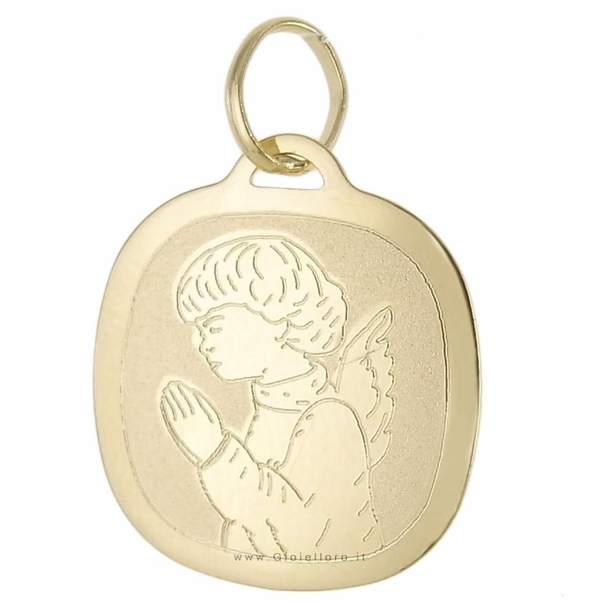 Ciondolo Medaglia con Angelo in preghiera - in oro 18 kt