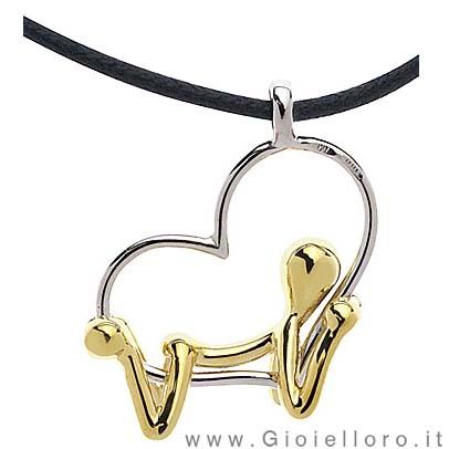 Ciondolo Pensieri Felici CUORE in oro giallo G3007-GL