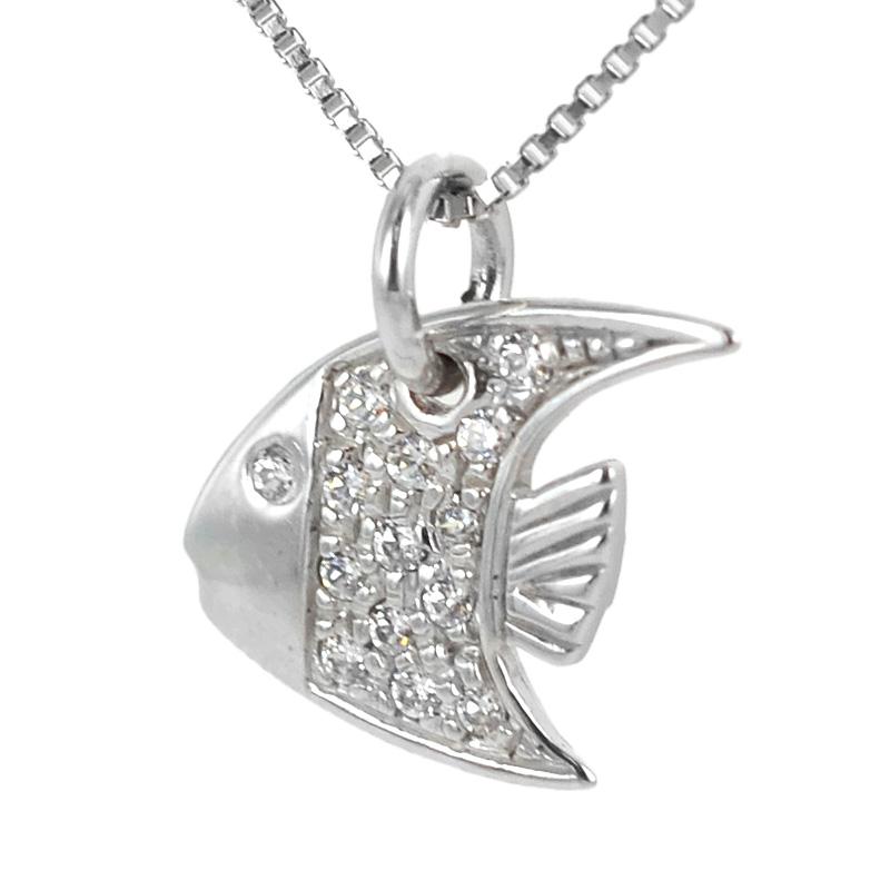 Ciondolo Pesce in oro bianco e zirconi con collana in argento