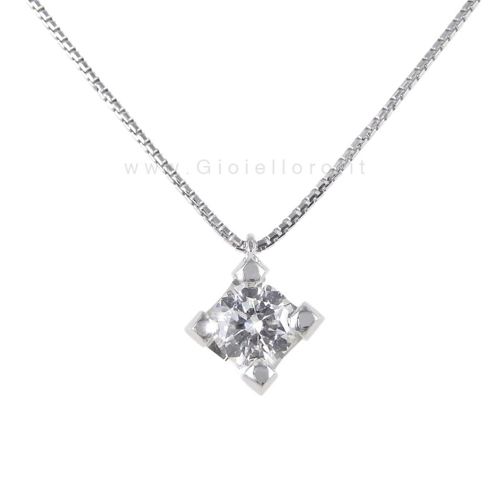 Ciondolo Punto Luce grande in oro bianco con diamante 0.47 G VS