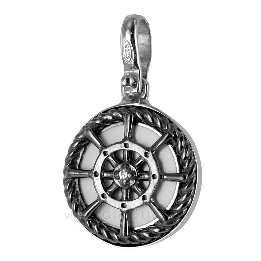 Ciondolo Timone e corda nautica in argento e smalti