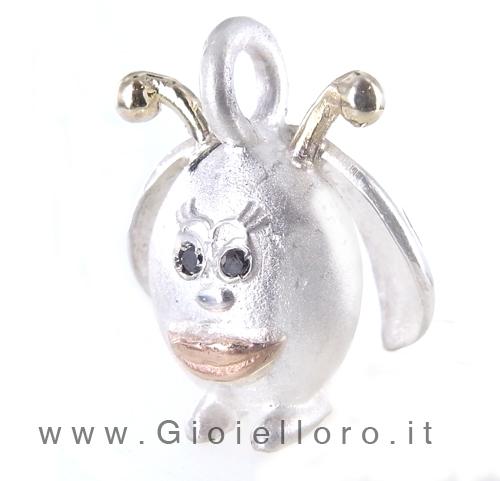 Ciondolo in argento e oro Pulci - Pulce Coccinella
